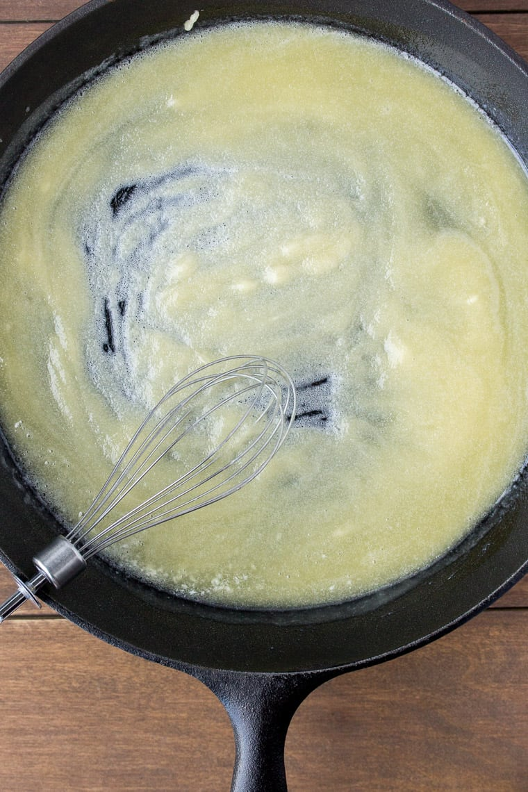 Butter and Flour in a Cast Iron Skillet with a Whisk