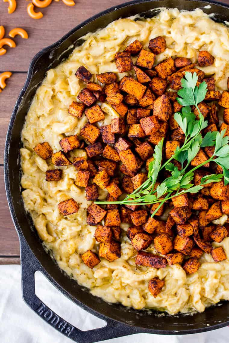 Chili -Roasted Sweet Potato Mac and Cheese in a Cast Iron Skillet
