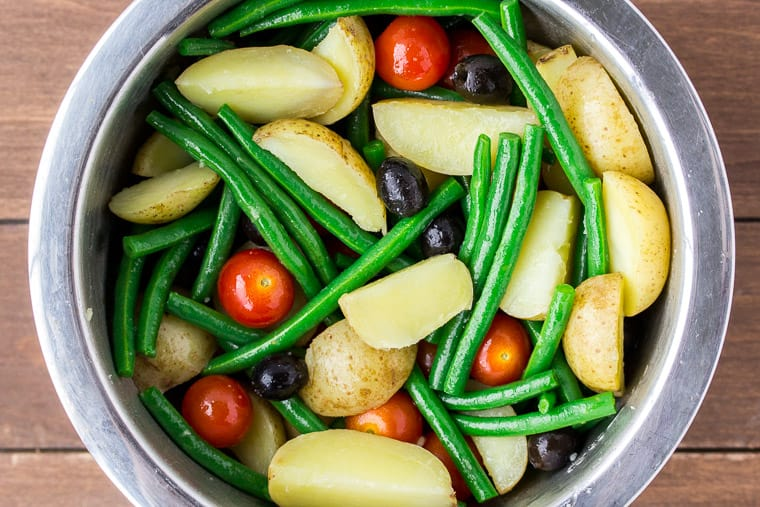 Vegetables Mixed Together in a Silver Bowl