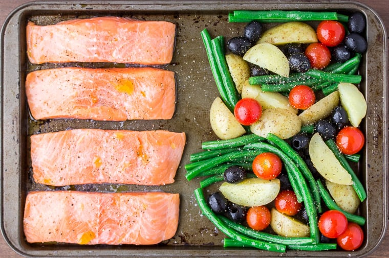 Salmon Fillets and Mixed Vegetables on a Sheet Pan