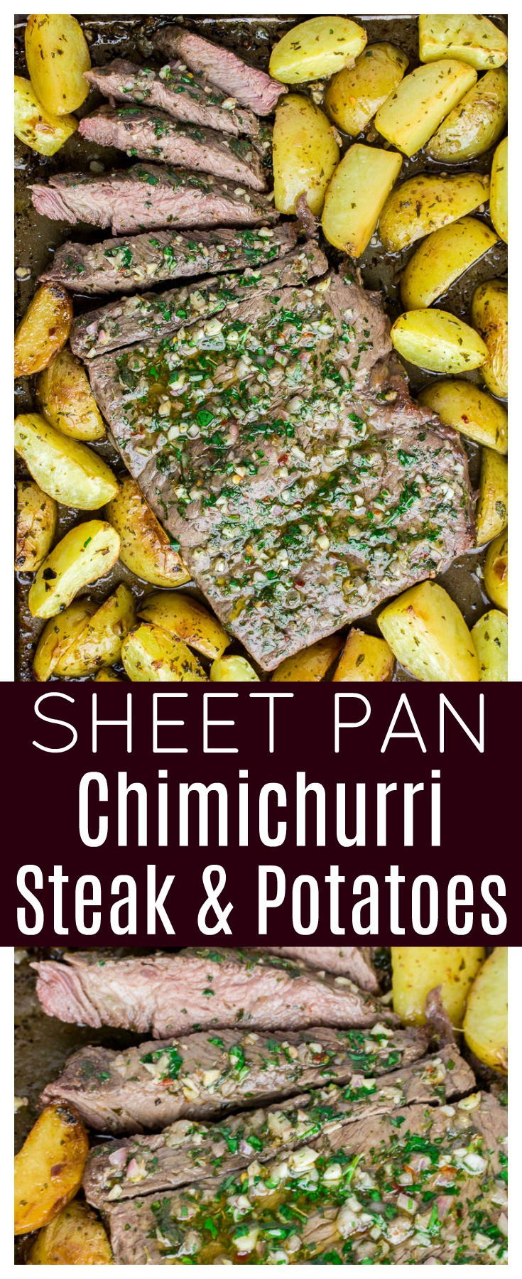 Sheet Pan Chimichurri Steak and Potatoes - an easy recipe that's great for busy weeknights! Marinate the meat in the morning or overnight and have this sheet pan dinner on the table in about 30 minutes! | #ad #sheetpanmeal #chimichurristeak #sealtosavor #glutenfree