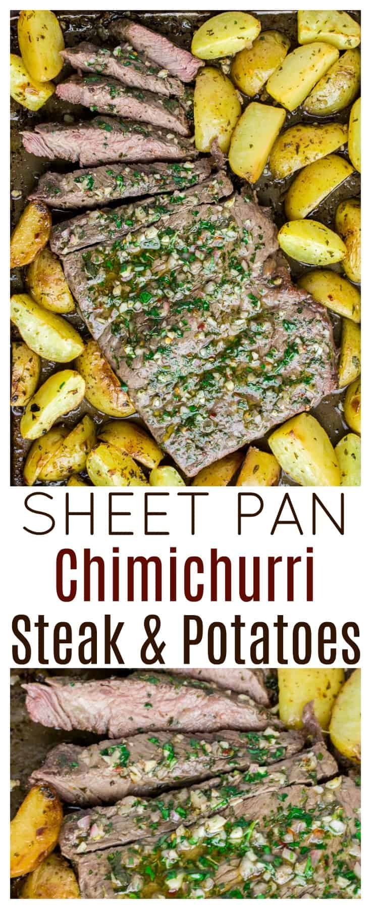 Sheet Pan Chimichurri Steak and Potatoes - an incredibly flavorful, yet surprisingly simple, sheet pan dinner recipe that the whole family will enjoy! | #ad #dlbrecipes #sealtosavor #chimichurri #sheetpanrecipe