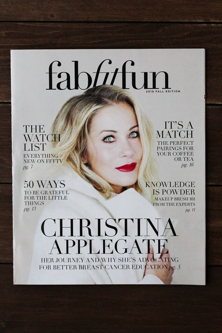 FabFitFun Fall 2018 Magazine on a Wood Backdrop