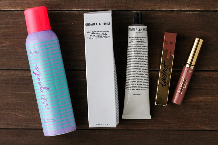 Beauty Products on a Wood Backdrop