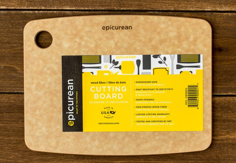 Epicurean Cutting Board on a Wood Backdrop