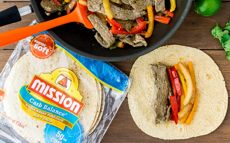 Steak Fajita Wraps with Mission Tortillas, Cilantro, and a Skillet
