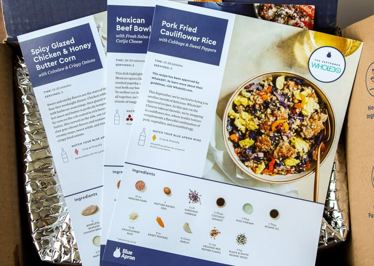 Blue Apron Recipe Cards on Top of the Box