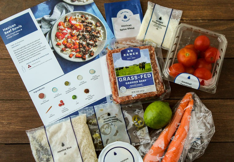 Blue Apron Mexican Beef Bowls Ingredients on a Wood Backdrop