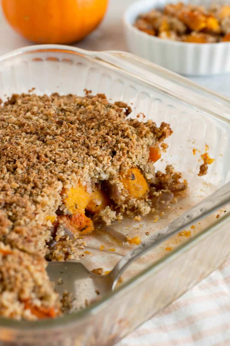 Butternut Squash Crisp in a Glass Baking Dish