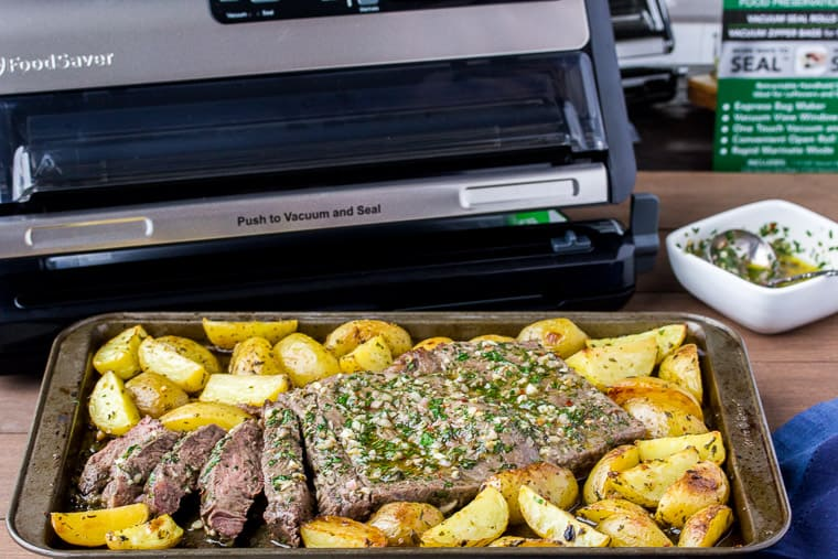 Sheet Pan Chimichurri Steak and Potatoes with the FoodSaver