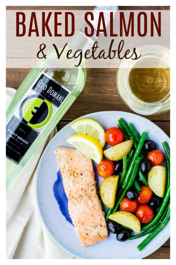Baked Salmon and Vegetables is a simple sheet pan dinner recipe that is perfect for busy weeknights! This delicious recipe can be made in under 30 minutes! | #ad #dlbrecipes #salmonrecipes #sheetpanrecipes #easyrecipes
