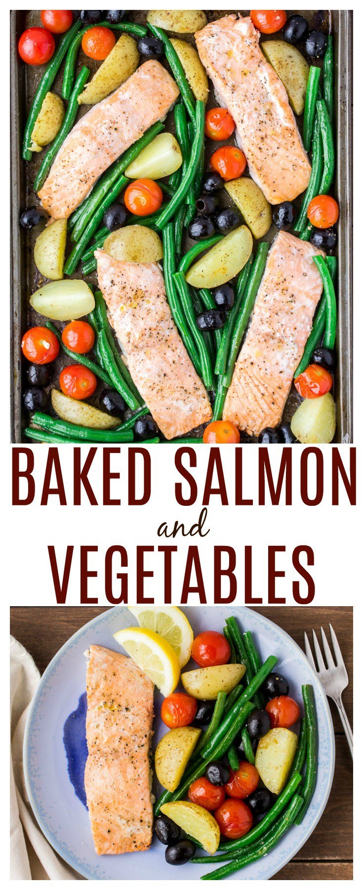 Baked Salmon and Vegetables is an easy recipe to help simplify busy weeknights. This tasty salmon sheet pan recipe can be made in less than 30 minutes! | #ad #salmon #sheetpanrecipe #30minutemeals #glutenfree
