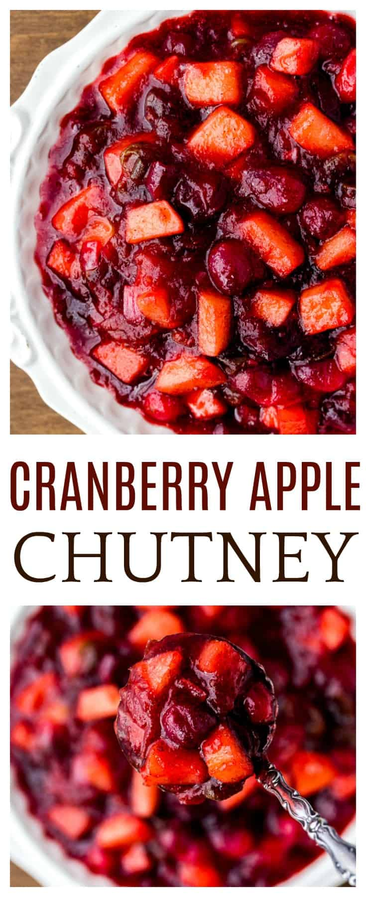 Cranberry Apple Chutney is a simple recipe made with sweet and savory ingredients to take your main dish to a whole new level. Serve it over pork, chicken, or turkey. It's also a great side dish recipe to serve at Thanksgiving and other holiday meals! | #dlbrecipes #cranberrychutney #applechutney #sidedish #thanksgiving