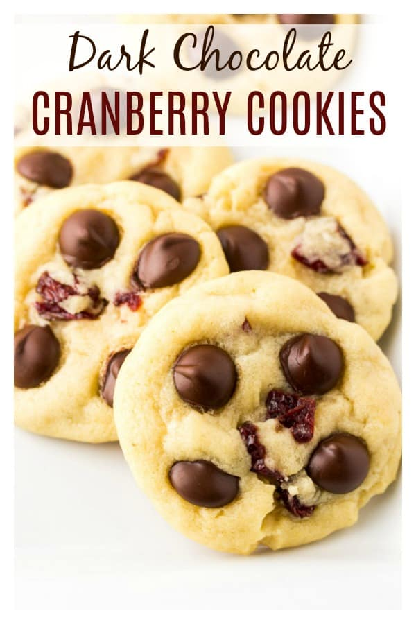 Dark Chocolate Cranberry Cookies - soft baked cookies loaded with rich dark chocolate chips and sweet cranberries! These cookies stay soft for days and are perfect for Christmas cookie exchanges, special occasions, or just because!   #dlbrecipes #cookies #darkchocolate #christmas #cookieexchange