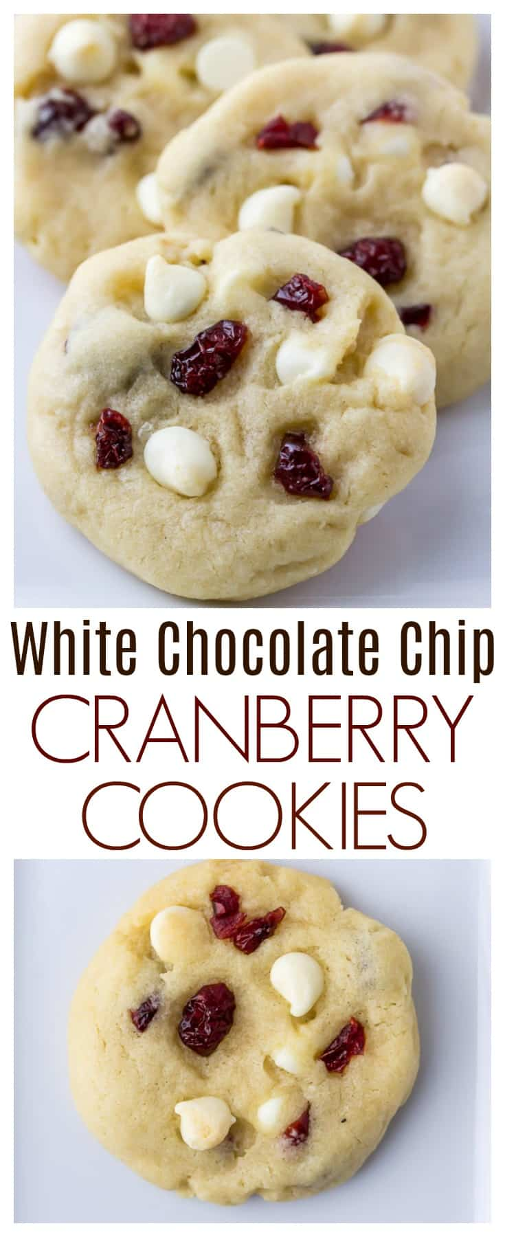 White Chocolate Chip Cranberry Cookies - soft-baked cookies loaded with sweet white chocolate and tart cranberries. These cookies stay soft even days later. This is an easy recipe that's perfect for the holidays and Christmas cookie exchanges too! | #dlbrecipes #cookies #whitechocolate #cookieexchange #dessert