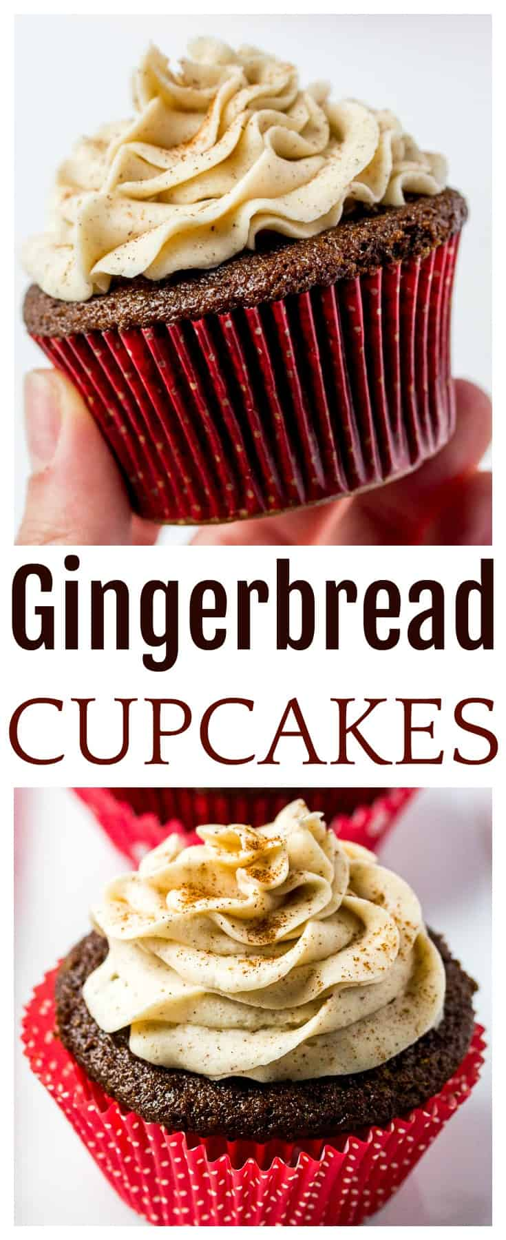 Gingerbread Cupcakes with Cinnamon Vanilla Buttercream Frosting - an easy recipe to bring the best nostalgic, classic taste to the dessert table this Christmas holiday season! Made with molasses and spices, these cupcakes are sure to delight! | #gingerbread #cupcakes