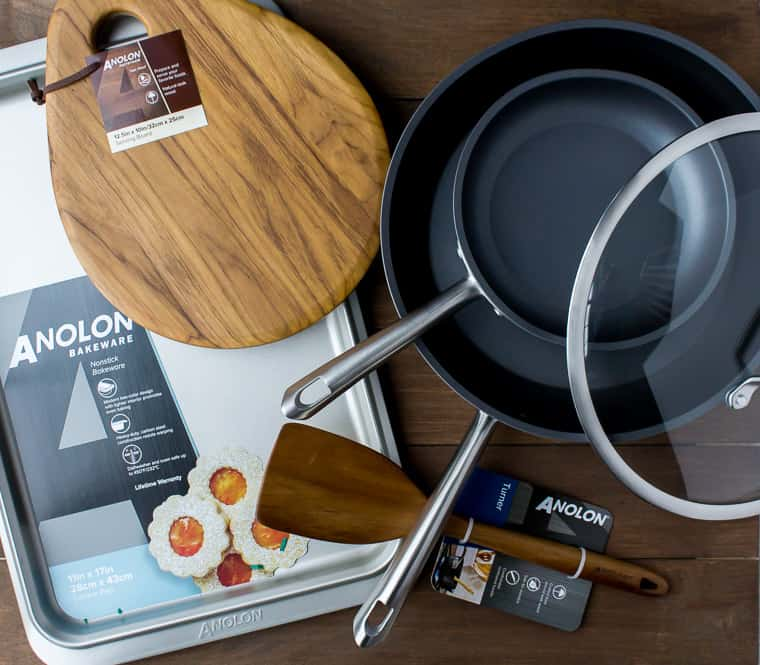 Anolon Accolade Cookware Set - 2 skillets, one serving board, 1 cookie sheet, 1 turner