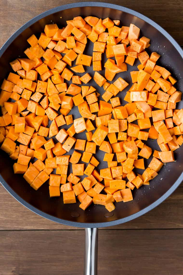 Diced Sweet Potatoes in a Skillet