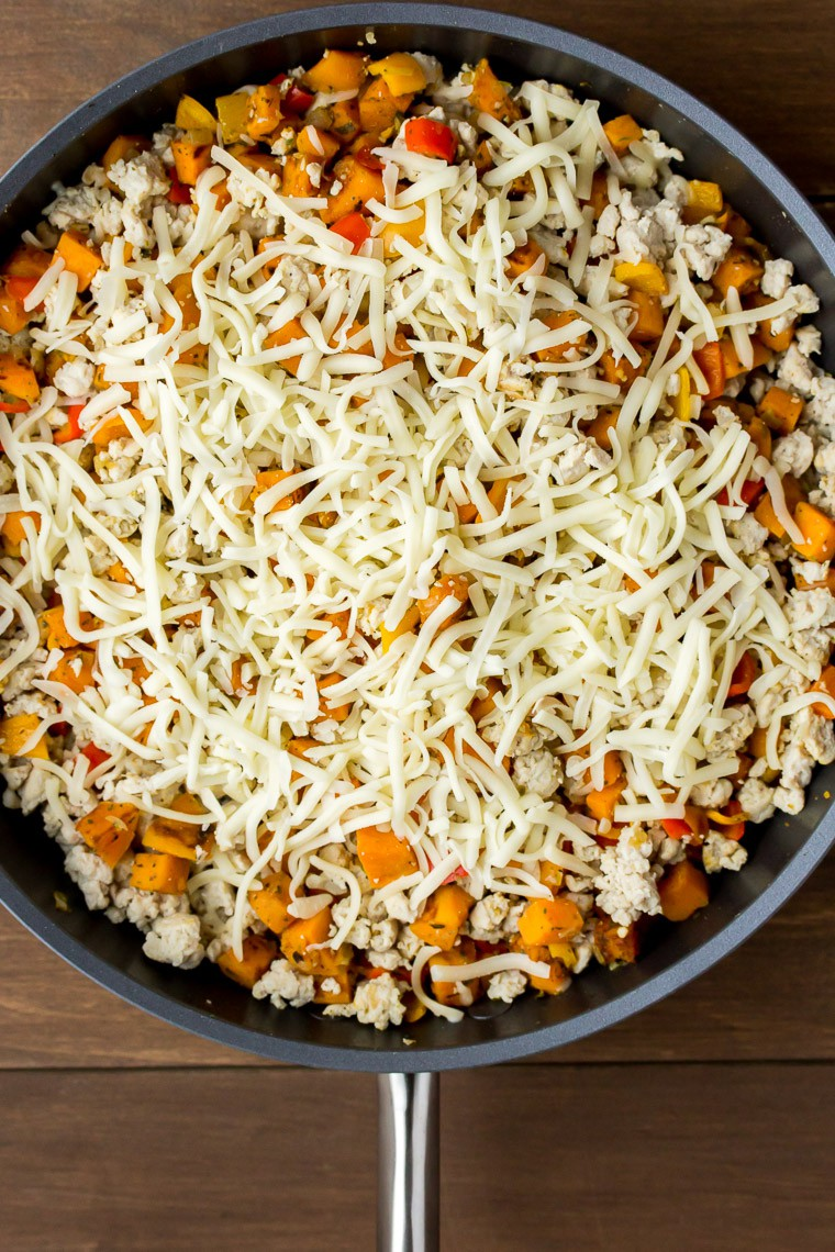 Vegetables and Turkey Topped with Shredded Mozzarella Cheese