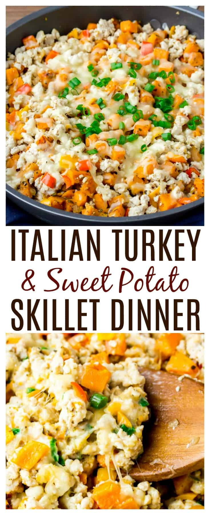 Italian Turkey Sweet Potato Skillet - made with ground turkey and sweet potatoes, this is a flavorful, family-friendly, one-pan meal easy enough to make any night of the week! Naturally gluten free too! | #turkey #onepanrecipes