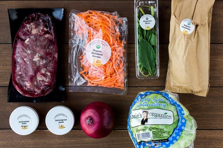 Sun Basket Ingredients for Lemongrass-steak Lettuce Cups with Pickled Vegetables Recipe