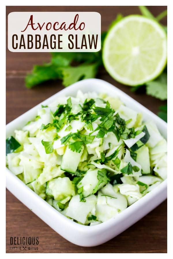 Keto Avocado Cabbage Slaw - a low carb, gluten free recipe that's delicious as a side dish or on top of blackened fish tacos and pulled pork sandwiches! Loaded with crunchy cabbage and cucumber tossed in a avocado sauce flavored with lime and cilantro. | #dlbrecipes #avocadoslaw #glutenfreerecipes #ketorecipes #lowcarbrecipes