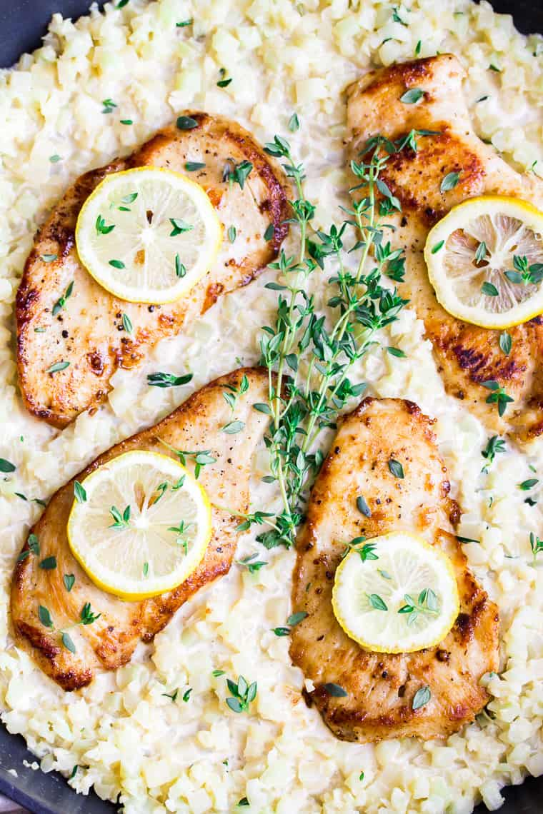 Skillet Creamy Lemon Chicken with Cauliflower in a Skillet Topped with Fresh Thyme