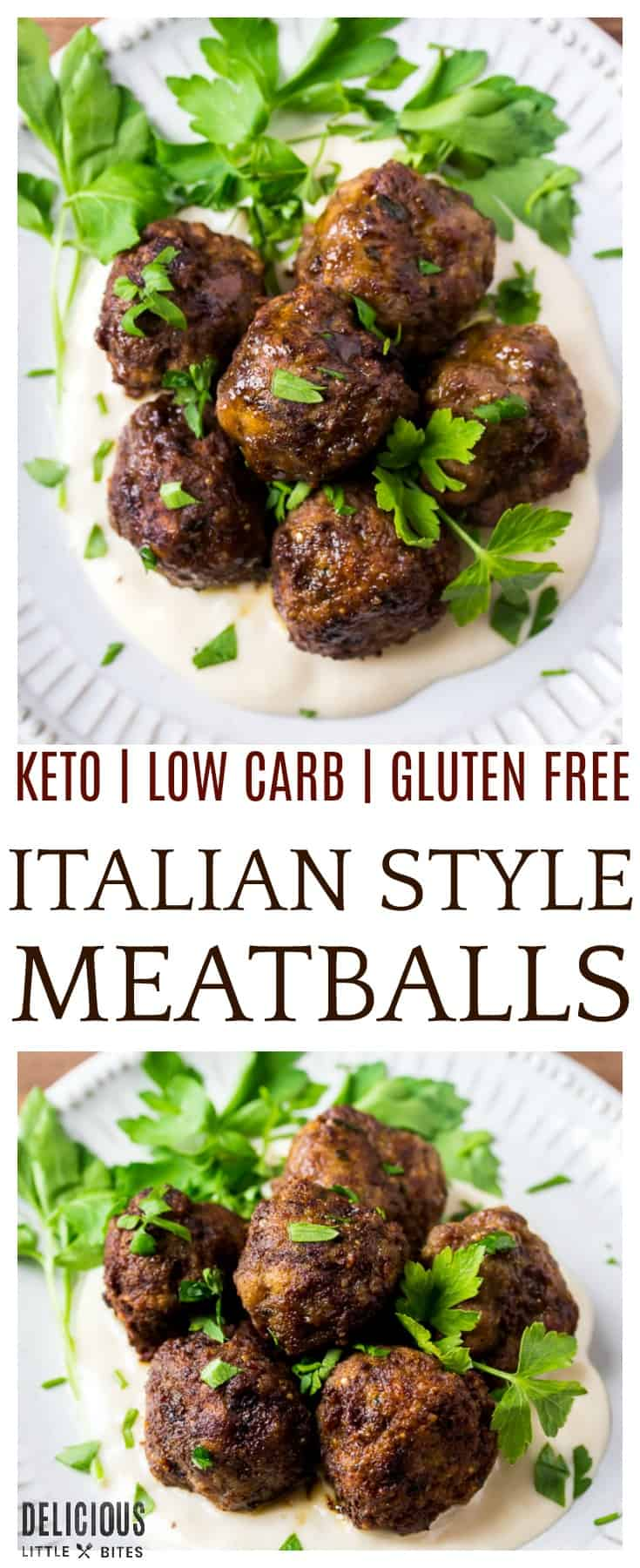 Keto Italian Meatballs - made with ground beef and the same flavors as traditional Italian meatballs, but uses almond flour instead of breadcrumbs so they are gluten free, low carb, and keto friendly. This easy recipe can be baked or fried! These meatballs can be made ahead of time and frozen for later use. | #keto #lowcarb #dlbrecipes #easyrecipe #meatballs
