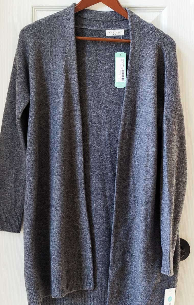Stitch Fix Sophie Rue Demeter Cardigan on a hanger with a white background | #ad #stitchfix #stitchfixwinter #stitchfix2019