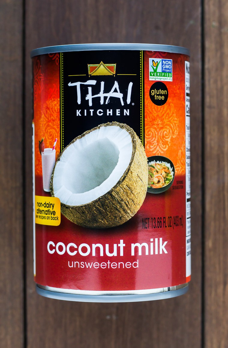 A Single Can of Thai Kitchen Coconut Milk on a Wood Background