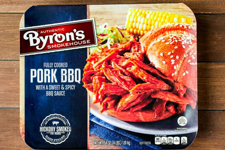 Close up of Byron's Pull Pork package on a wood background