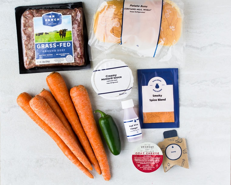 Ingredients for Blue Apron Jalapeno Burgers spread out onto a white background