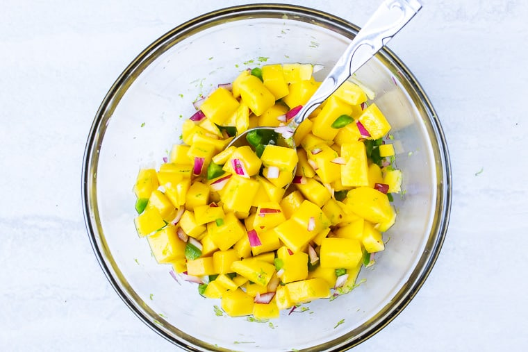 Diced mango, jalapeno peppers, red onion, lime juice and cilantro in a glass bowl with a spoon over a white background