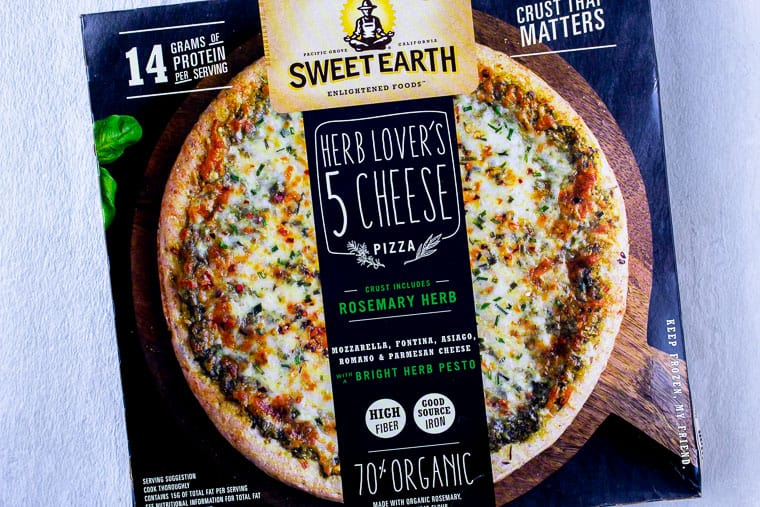Sweet Earth Herb Lover's 5 Cheese Pizza in it's packaging
