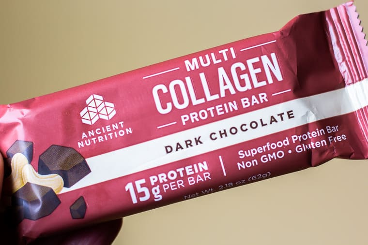 close up of one collagen bar in packaging