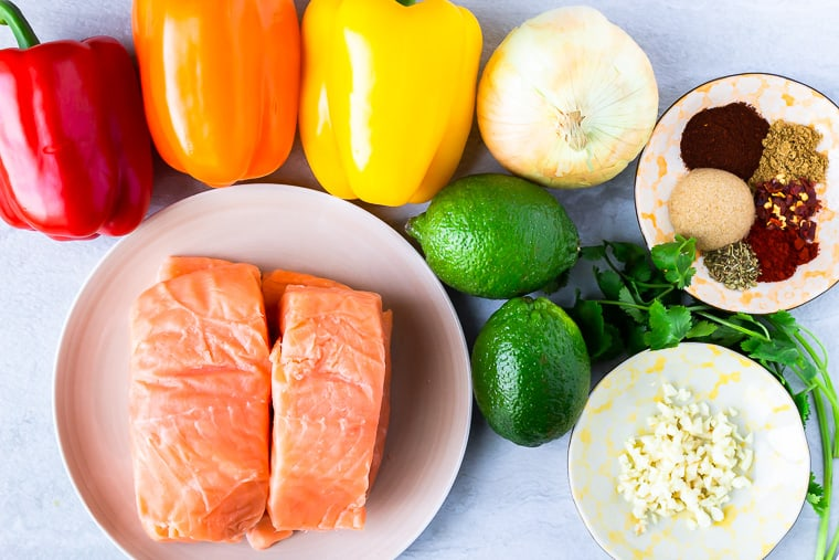 Ingredients for Salmon Fajitas on a white background