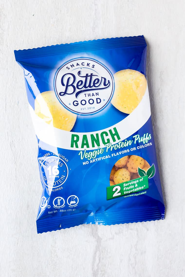 A bag of Better Than Good Ranch Veggie Puffs on a white background