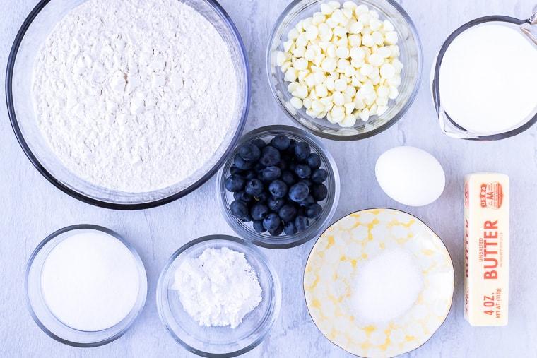 Ingredients needed to make blueberry buttermilk scones
