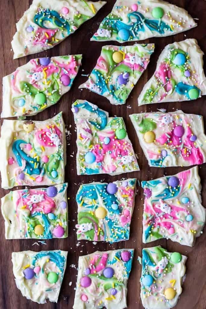 Easter bark on a cutting board broken into many pieces