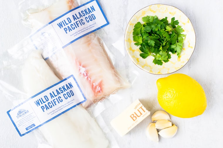 Ingredients needed to make broiled cod with lemon garlic butter sauce