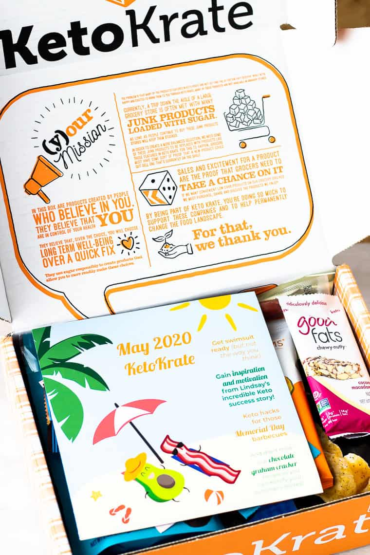 May 2020 Keto Krate opened with the insert and a keto bar showing