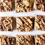 9 Chocolate Peanut Butter Rice Krispies Treats on a white background