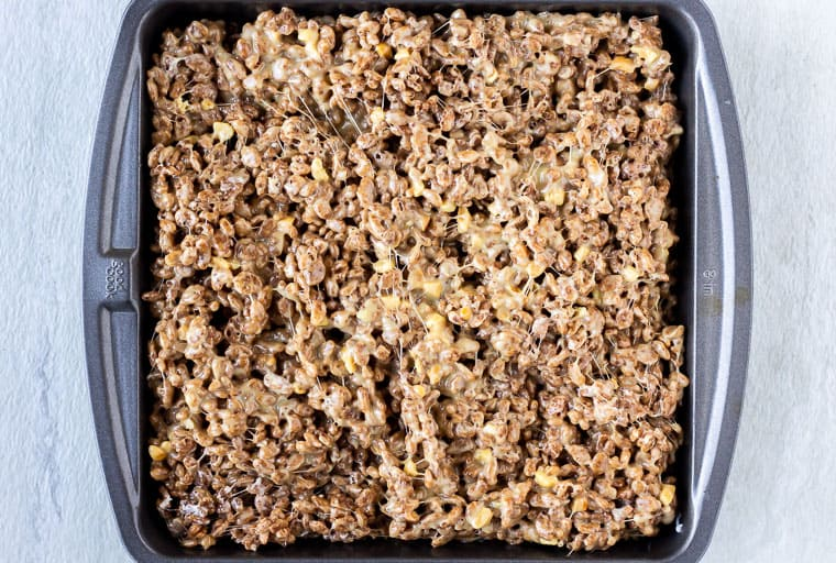 Cocoa Rice Krispies Treats in a square baking pan