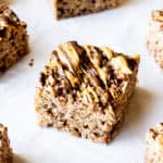 Chocolate Peanut Butter Rice Krispies Treats on a white background