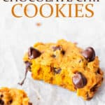 Pumpkin chocolate chip cookies with text overlay