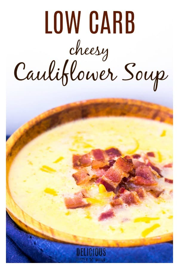 Cheesy Cauliflower Soup - a tasty cheesy go-to alternative to potato soup! This was such an easy recipe to make and a really delicious low carb soup! Perfect for this time of year! | #lowcarb #cauliflowersoup