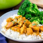 Coconut Curry Chicken over Rice with Broccoli