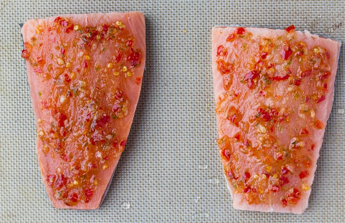 2 Salmon Fillets with Sweet Chili Sauce on a Pan