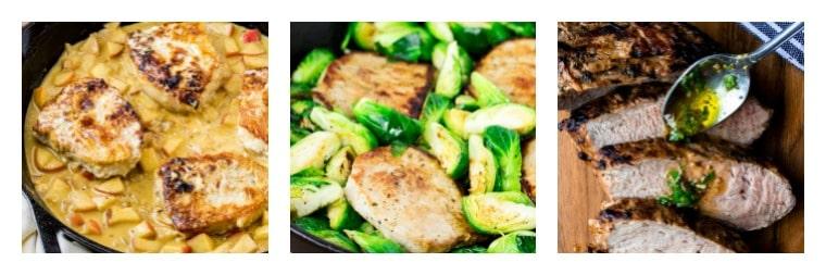 A collage of three pork dinner recipes