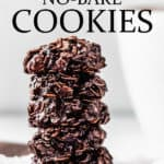 A stack of 5 dark chocolate no bake cookies with text overlay